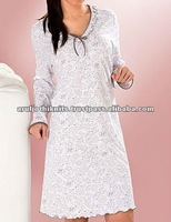WOMENS PRINTED LONG SLEEVE NIGHT GOWN WITH FRILLED NECK