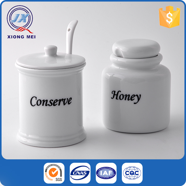 Excellent quality porcelain decorative honey jar with spoon