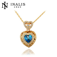 Engagement Rhinestone Crystal heart charms gold plated accessories and costume jewelry N561