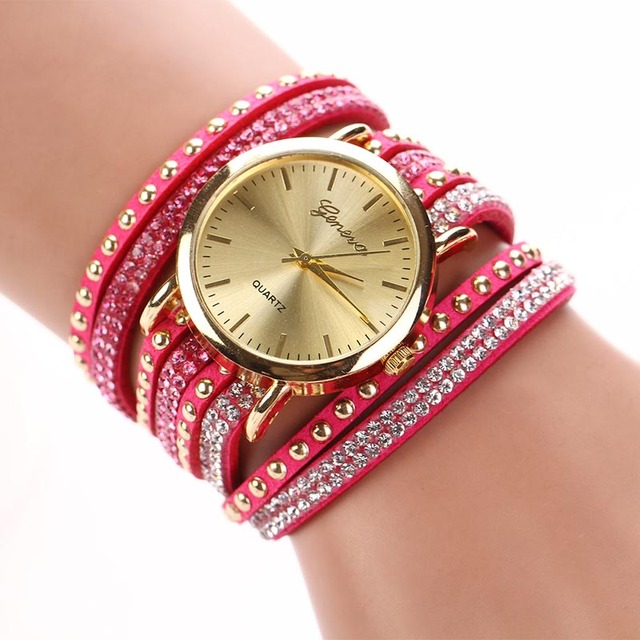 New Brand Fashion Elegant Quartz Multilayer Rivets Rhinestone Bracelet Watch Women Rhinestone Watches