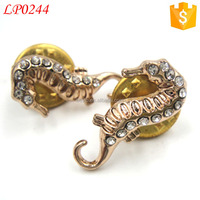 Fashion decorative men rhinestone gold seahorse metal pins with short pins