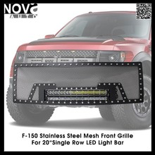 Auto Parts,F150 Black Stainless Steel Wire Mesh Front Grille With Single Row Light Bar