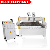Blue Elephant Double Head Mini Cnc Router Cutting Machine 1325 with Belt Chip Conveyor