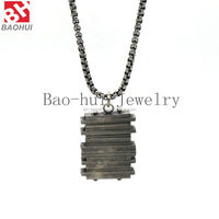 New Fashion Design Military Card Simple Silver Low Key Callous Tag 316L Stainless Steel Pendants Trendy Men Necklace