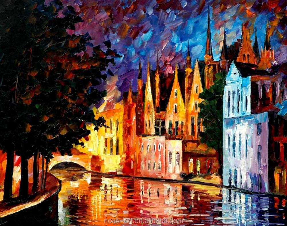 Palette Knife Night Street Scenes Oil Painting on Canvas