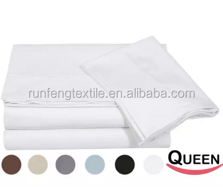 Bedding 4-piece Bed Sheet Set 100% Cotton, Includes Flat Sheet, Fitted Sheet, and 2 Pillow Cases (Queen, White)
