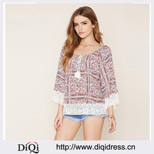 fashion woman lace patchwork blouse floral print O neck long sleeve blouse