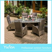 Outdoor dining table set cane furniture