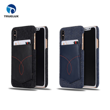 Good Quality Jeans Pocket Pattern Leather Case With Card Slot for iPhone X