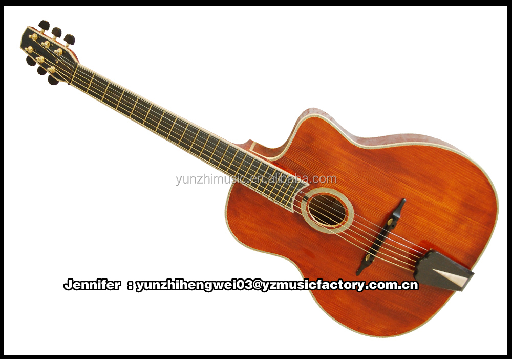 archaizeed color handmade solid wood archtop gypsy guitar