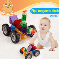 Minitudou Wholesale 20PCS Pipe Magnetic Blocks Designer Construction Building Blocks Bricks Enlighten Toys Educational For Kids