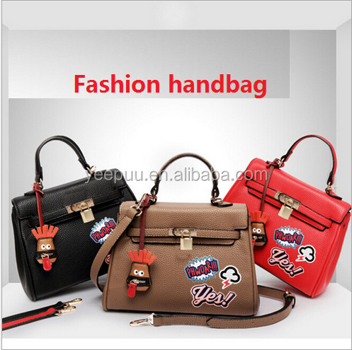2016 Fahion Women's Jelly /Leather Graffiti Handbags Graffiti Coloured Drawing Leather Handbag