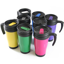 Fancy promotional double wall plastic insulated16OZ travel mug with handle