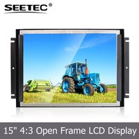 Large lcd tft monitor open frame 15 inch skd display with touchscreen optional DVI HDMI Ypbpr AV input audio output
