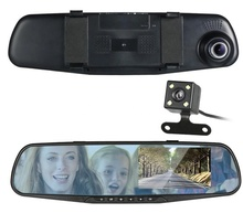 Loop Recording Full HD 1080P Dual Lens 4.3Inch Rearview Mirror Monitor Vehicle Blackbox DVR