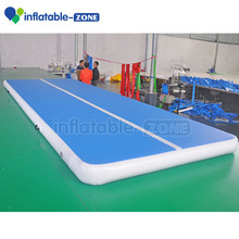 New arrival Customized white and blue color inflatable air track mattress, tumbling gym crash mat