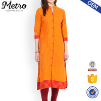 2016 special design Cotton plain Orange long Kurta ladies