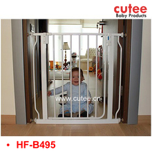 Adjustable Expandable White Steel Metal Indoor Iron Baby Child Safety Door Gate