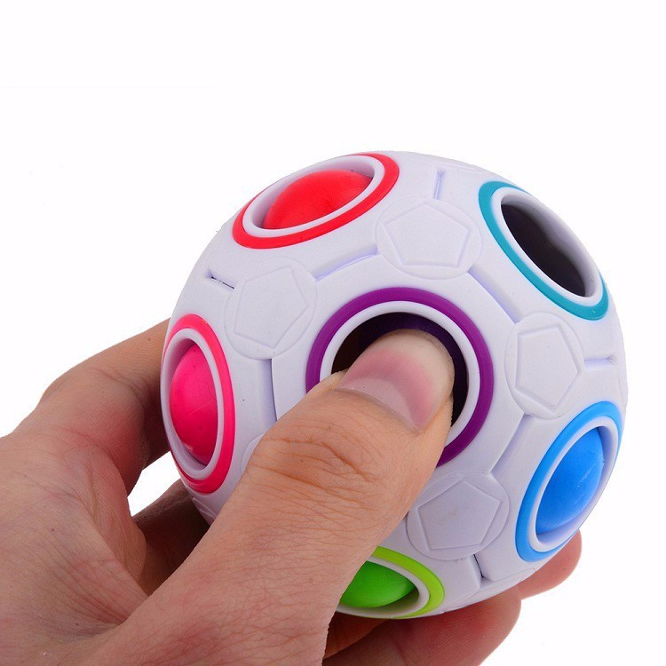 2017 New Design Top Quality Funny 12 Holes with 11 Different Color Small Balls Magic Cube Relieves Stress Rainbow Ball