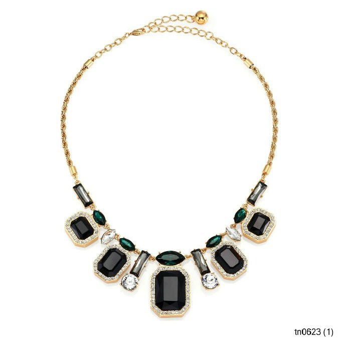 YIWU Latest Design Fashion Jewelry Gold Black Agate Resin Turquoise Diamond Art Deco Graduated Necklace