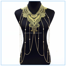 Jinhua yiwu multilayer body chain Dubai gold lace with pearl pendant body chain