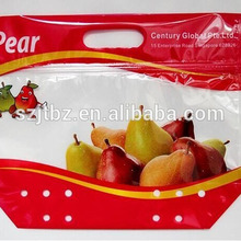 Eco-friendly clear plastic fruit ziplock packaging bags fruit picking bags with hanging hole