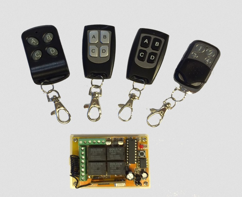 2 or 4 channel 433.92mhz / 315mhz Garage Door RF radio remote control rc transmitter receiver
