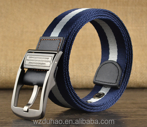 Top quality cotton canvas pu leather outdoor belt with pin buckle