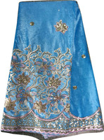 2014 African velvet lace fabric material with embroidery sequins CL9269-5 t blue