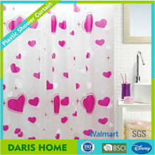 Printed And Solid Color Curtain, Pink Printed Plastic Peach Shower Curtain