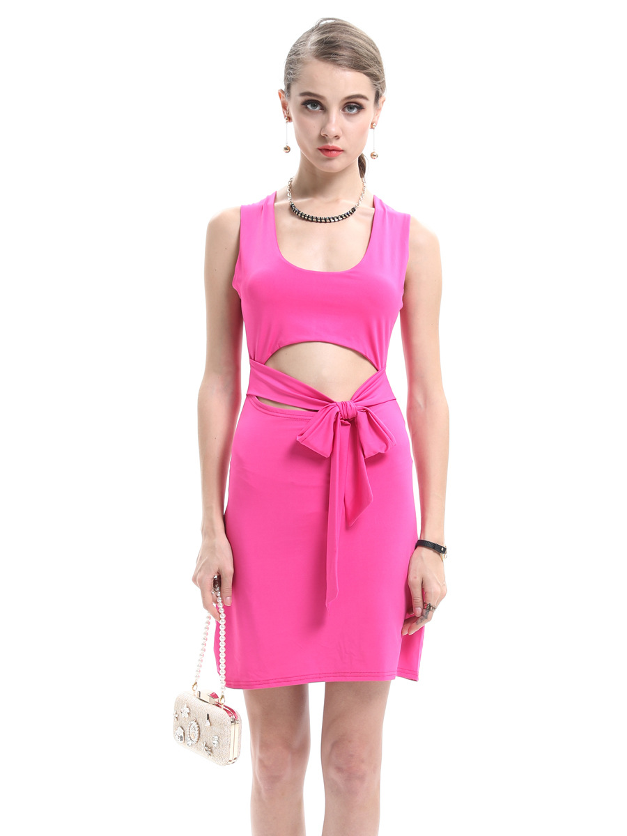 Summer new women's sexy wrapped chest cotton stretch body was thin sleeveless dress