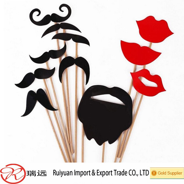 Alibaba hot sale 2015 new products Moustache lips felt photo booth props for wedding decoration