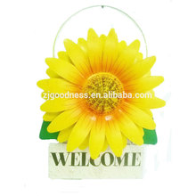 Welcome metal wall plauqe sunflower plant signs