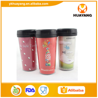 Food Grade 16oz double wall plastic promotional cup with advertising paper changeable