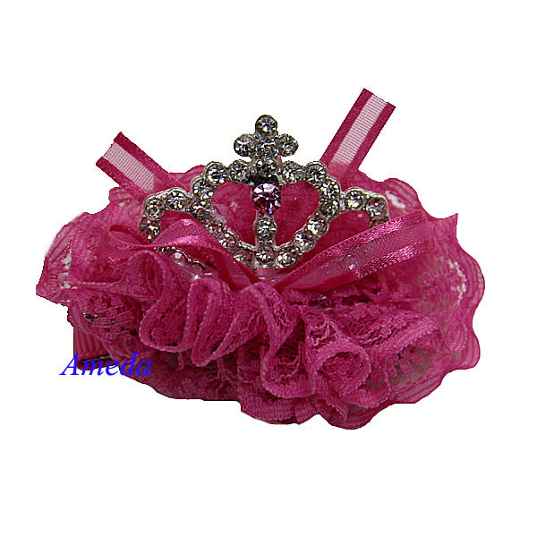 Girls Hot Pink Lace Tiara Sparkle Rhinestone Crown Hair Clips Accessory