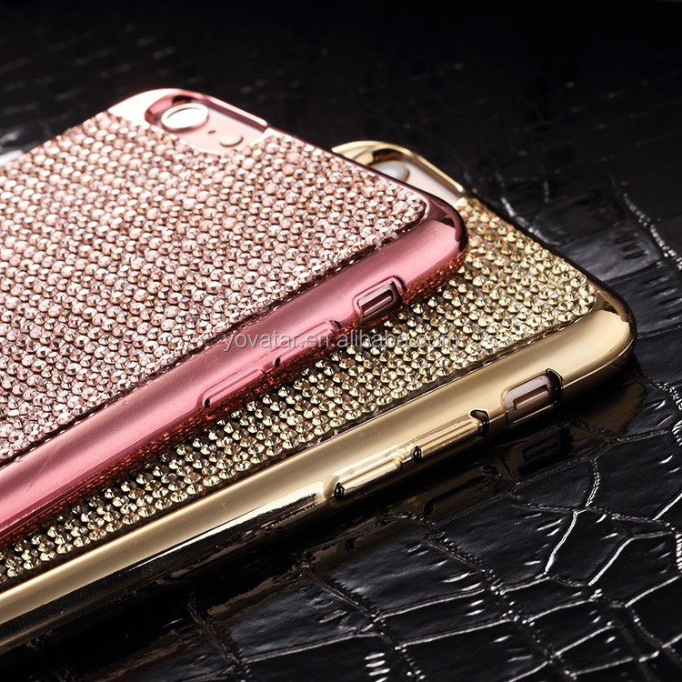 Crystal Diamond Bling Hybrid full cover case Soft Flexible TPU For iPhone 6/6S/6 Plus case