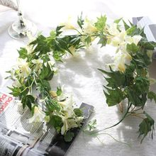 Cheap Wholesale Artificial Wall Hanging Morning glory Ivy vine Fake Flower for Home decoration Plant
