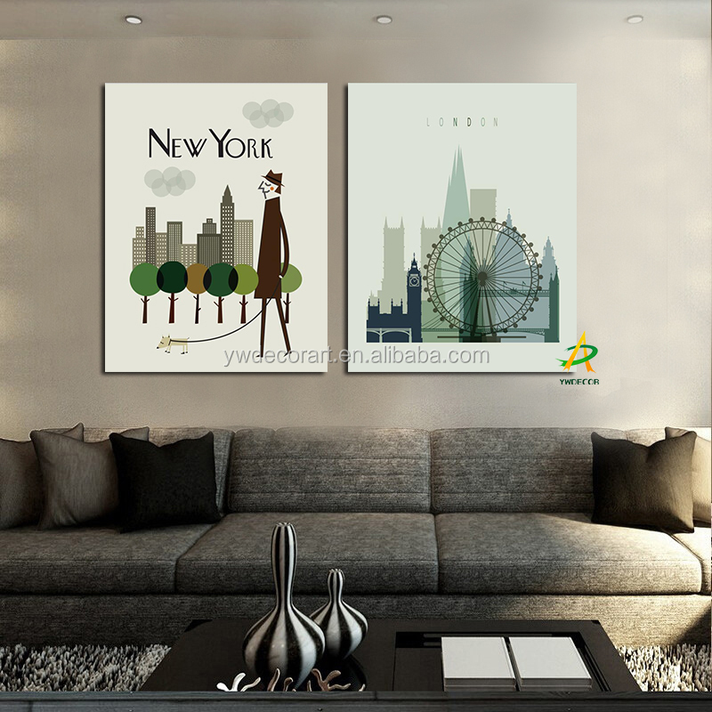 Factory Sale New York and London City painting Home Goods wall Art painting for Living room painting 2 piece canvas prints