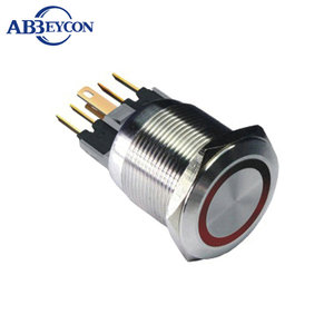 19mm push buuton-travel ring led RGB three led pushbutton coffee machine switch