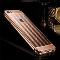 24K Glod Diamond Rhomb Acrylic Aluminum Bumper Mirror Phone Cover Case For iPhone 6s