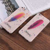 Slim Hybrid Clear Luminous Bumper Case for Apple iPhone 5 6 6 Plus With Feather Design