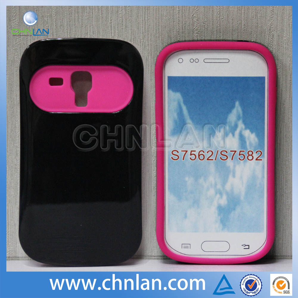 Durable pc silicone nightglow cover case for samsung galaxy s duos 2 s7582