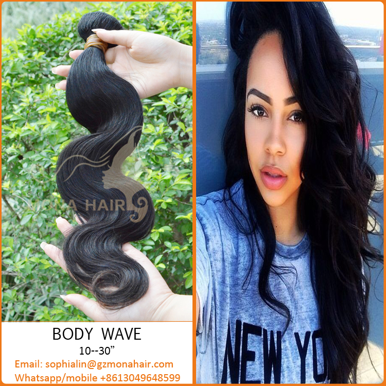 No tangle human hair cut from young girl directly natural color soft and smooth European body wave hair virgin hair