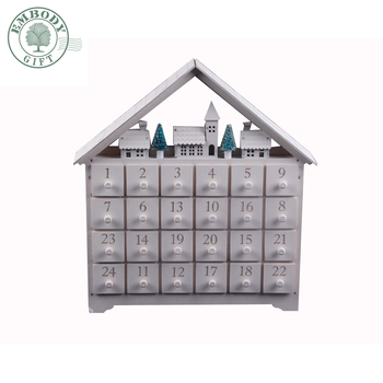 Walmart Factory Audit White Led Christmas Decorating Wooden Advent Calendar box for Christmas promotion item