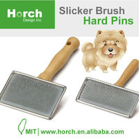 Taiwan product wooden handle round end hard pins pet slicker pin brush
