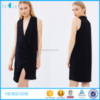 OEM black Turtleneck Sleeveless Suit the dress for sex Women clothing LC7886
