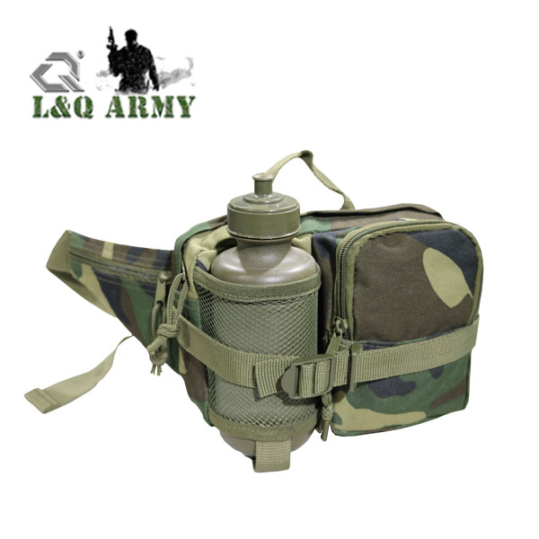 Outdoor Gear Waist Bag Woodland Camo Fishing Waist Bag Tactical Water Bottle Mesh Pouch with Adjustable Strap