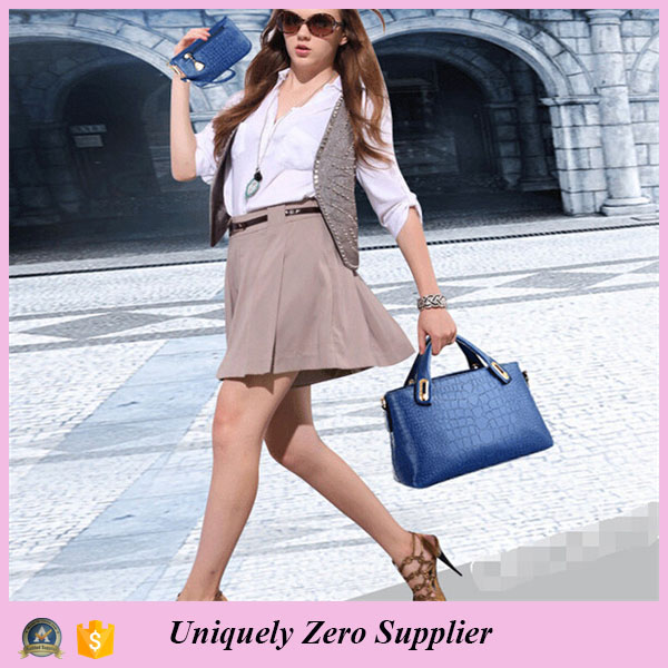 Womens Blue Embossed Crocodile Leather Handbag Buy One Get Two Free