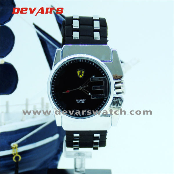 2013 white colour watches for men with black face