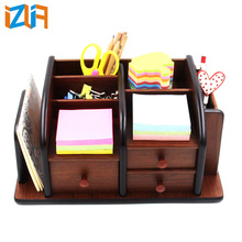 Desktop multifunctional pen holder bamboo desk organizer with 3 drawers